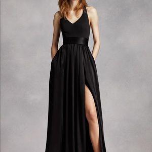 Black V Neck Halter Gown With Sash, Brand New